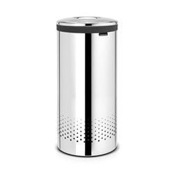Laundry bin, 35 litre, brilliant steel