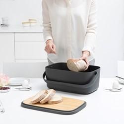Nic Bread bin, H16.5 x W39.5 x D25.5cm, dark grey