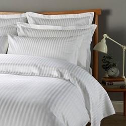 300 Thread Count Sateen Stripe Pair of oxford pillowcases, L50 x W75cm, white