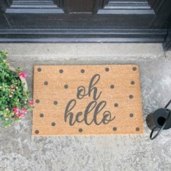 Oh Hello Doormat, L60 x W40 x H1.5cm, grey