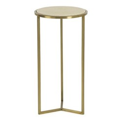 Holly Side table, H60 x Dia31cm, brass and faux shagreen