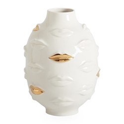 Gilded Muse Gala round vase, Dia15.24 x H25.4cm, white/metallic gold