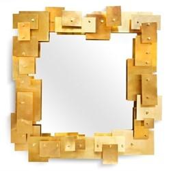 Puzzle Mirror, W74 x D8.3 x H78.7cm, brass/white