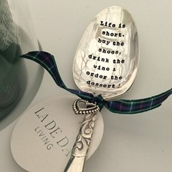 Life Is Short Dessert spoon, 16cm, silver plated