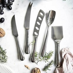 5 piece cheese knife set, stainless steel