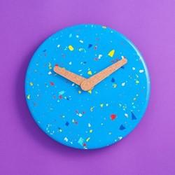 Terrazzo Jesmonite Wall clock, D23.5 x H3cm, blue