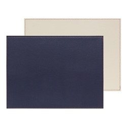 Set of 6 rectangular placemats, W40 x L30cm, navy/ivory