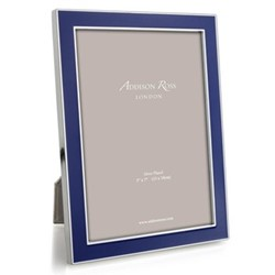 "Enamel Range Photograph frame, 5 x 7"" with 15mm border, royal blue with silver plate"