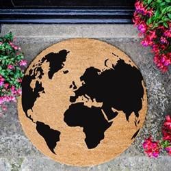 Globe Circle Doormat, L70 x W70 x D1.5cm, natural/black