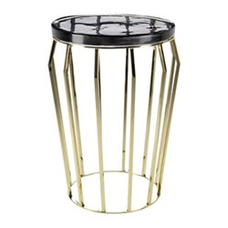 Smoked Glass Round side table, H56 x D40cm, black