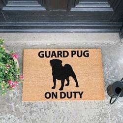 Guard Pug On Duty Doormat, L60 x W40 x H1.5cm
