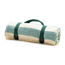 Crosshatch Stripe Recycled picnic rug, L120 x W150cm, jade and cream