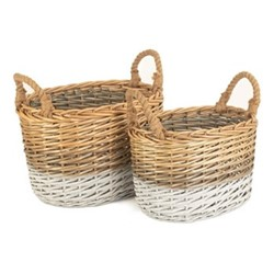 Triple Tone Set of 2 oval storage baskets, willow
