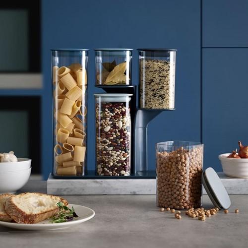 Editions 5 piece podium storage jar set with stand, Sky blue