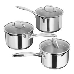 7000 3 piece draining saucepan set, stainless steel