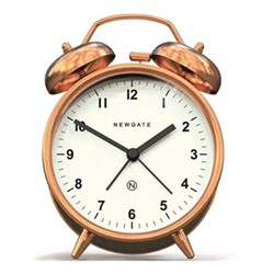 Charlie Bell Alarm clock, H14 x W9.7 x D5.5cm, copper