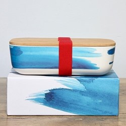Blue Wave Lunchbox, H6.5 x W11 x L20cm, bamboo