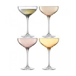 Polka Set of 4 champagne saucers, assorted metallics