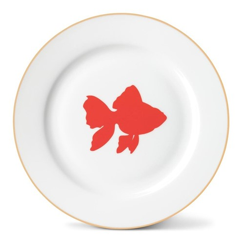 Goldfish Side plate, Dia21cm, gold rim