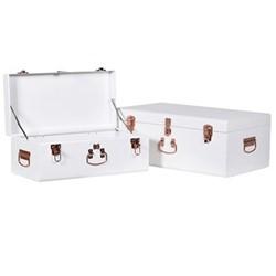 Pair of trunks, H245 x W60 x D36cm, white/copper