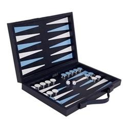Jubilee Luxury backgammon board, W.33 x H.22cm, navy, white and sky blue