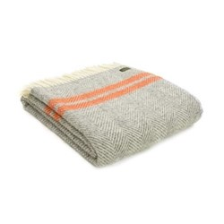 Fishbone 2 Stripe Throw, L150 x W183cm, grey and pumpkin
