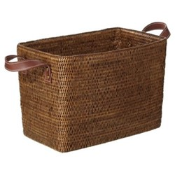 Fairfax Small basket, L38 x W24 x H26cm, rattan with leather handles