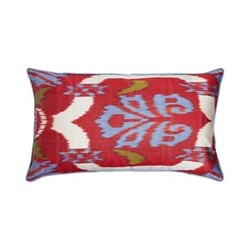 Ikat Cushion, 60 x 40cm, Blue/Red