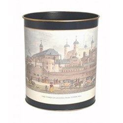Traditional Range - Shepherd's London Wastepaper bin with hand guilded gold rim, H28cm, Oxford blue