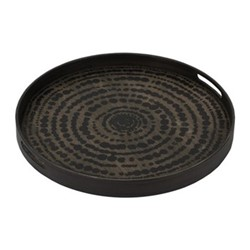 Beads Small driftwood tray, D48 x H4cm, black