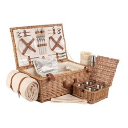 Deluxe Picnic hamper - 4 person, 58 x 38 x 22cm, willow wicker