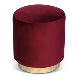 Small footstool, H45 x D40cm, claret velvet with brass base