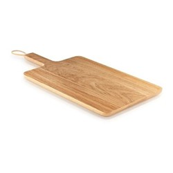 Nordic Kitchen Wooden cutting board, 38 x 26cm, oak/leather