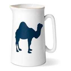 Camel Pint jug, H13.5 x Dia9cm, gold rim