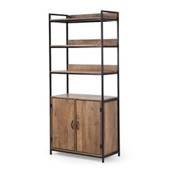Lomond Shelving with storage, H188 x W86 x D40cm, black/mango