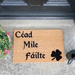 Cead Mile Failte Doormat, L60 x W40 x D1.5cm, natural/black
