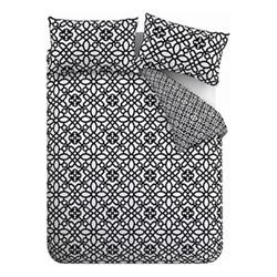 Medina Trellis King size duvet set, 220 x 230cm, black/white