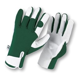 Leather palm gloves, small, green