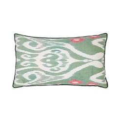 Ikat Cushion, 60 x 40cm, Green/Pink