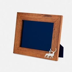 """The Highland Safari Collection - Red Deer Landscape photo frame, 7 x 5"""", Rhodesian teak and silver plated brass"""