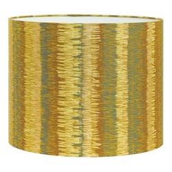 Textured Stripe Drum lampshade, W31 x H24cm, turmeric/storm