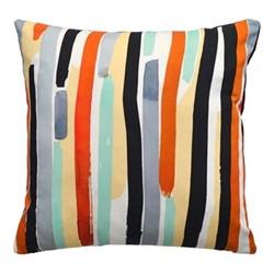 Paint Stripe Velvet cushion, W40 x L40cm, orange/multi