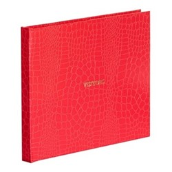 Oyster Bay Large plain-paged visitors book, L22 x W28.5cm, red croc print