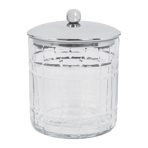 Cut Glass Storage pot, D10 x H12.5cm, clear