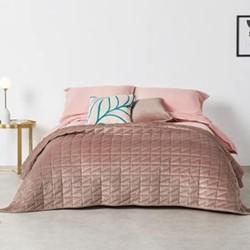 Julius Velvet king size bedspread, H225 x W220cm, soft pink