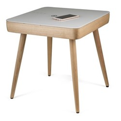 Carl Smart charging side table, H50.5 x W48.5 x D48.5cm, wood and white