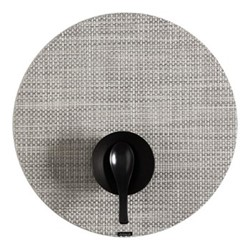 Basketweave Set of 4 round placemats, 38cm, white/silver