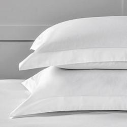 Savoy Stripe - 400 Thread Count Standard oxford stripe pillowcase, 50 x 75cm, white