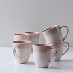 Finsbury Set of 6 mugs, 420ml, blush