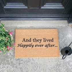 Happily Ever After Doormat, L60 x W40 x H1.5cm, black/brown